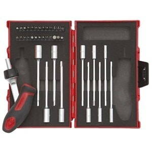 """Gedore Red 1/4"""" Drive Tool set T-handle with ratchet 37 pcs"""
