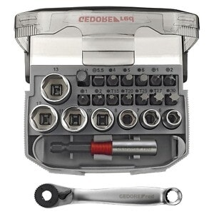 """Gedore Red 1/4"""" Drive Bit ratchet set with adaptor compact 23 pcs"""